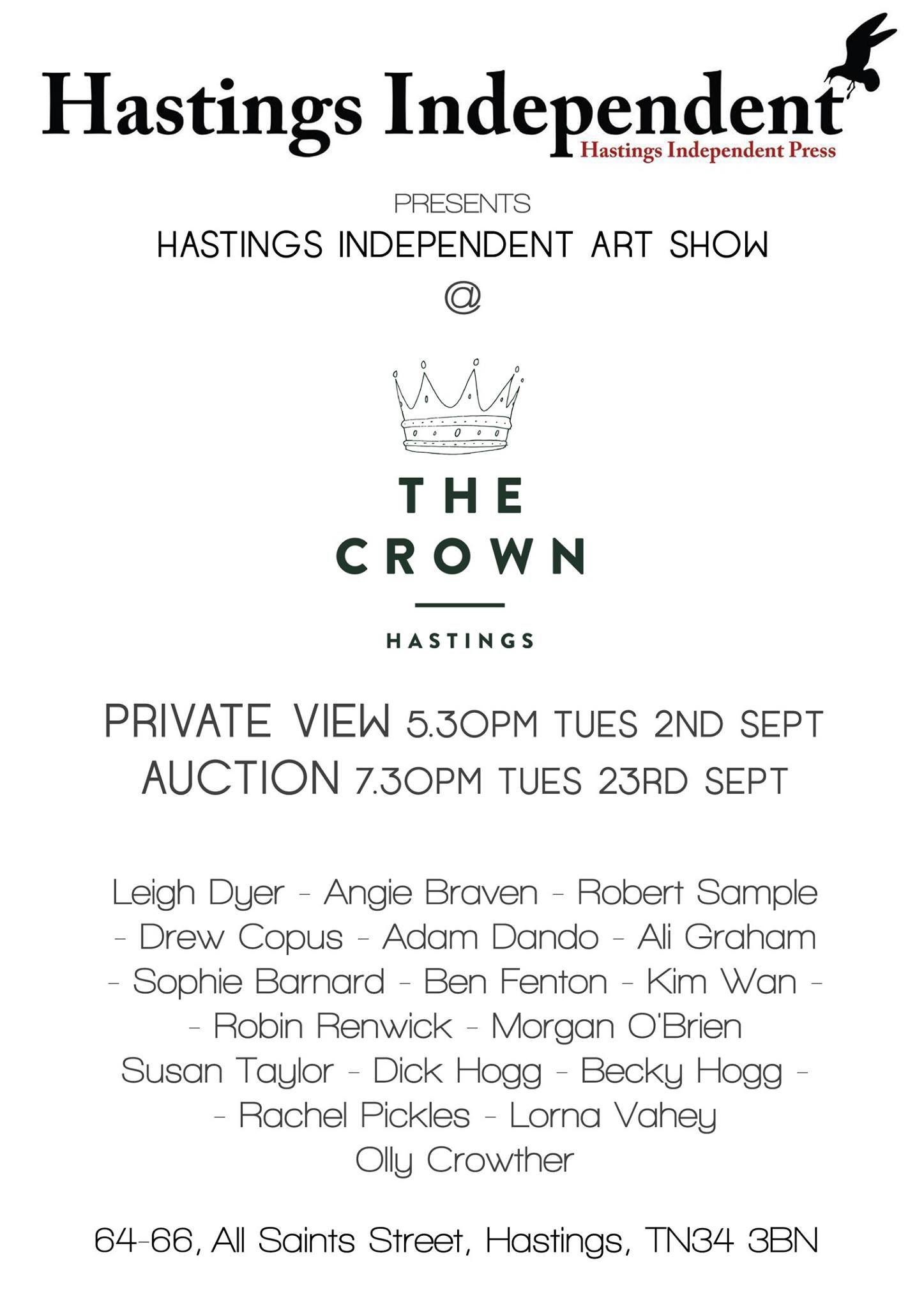 Poster for Hastings Independent Art Auction