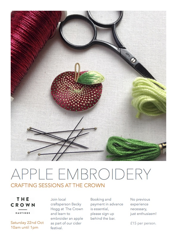 Poster for Crafting Sessions at The Crown: Apple Embroidery