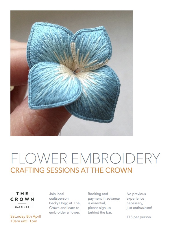 Poster for Crafting Sessions at The Crown: Flower Embroidery
