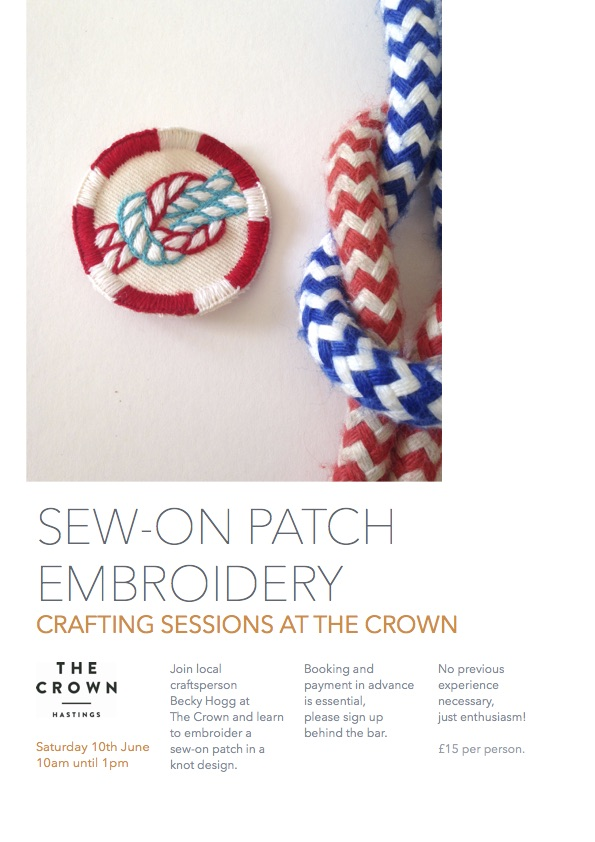 Poster for Crafting Sessions at The Crown: Sew-on Patch Embroidery