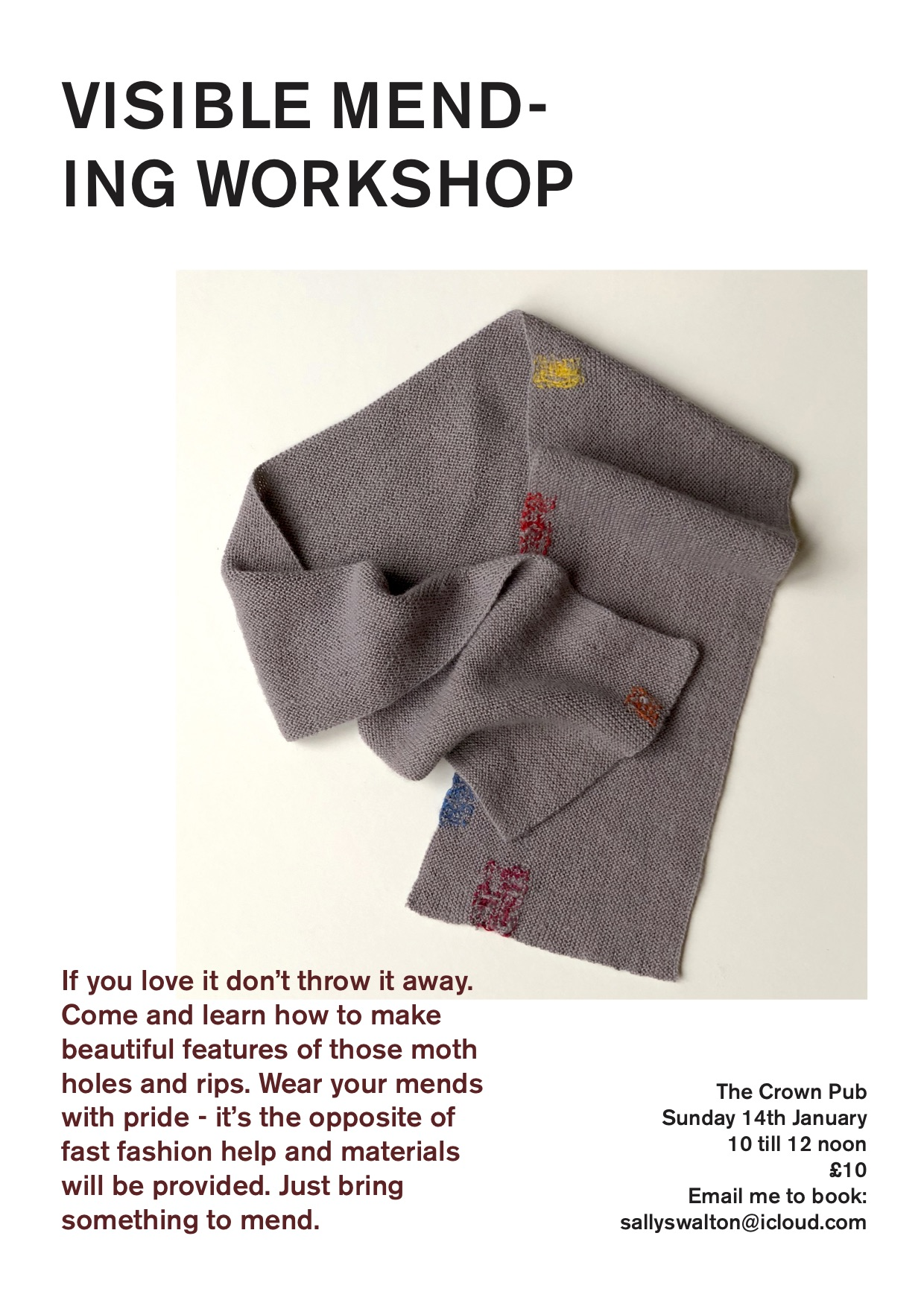 Poster for Visible Mending Workshop