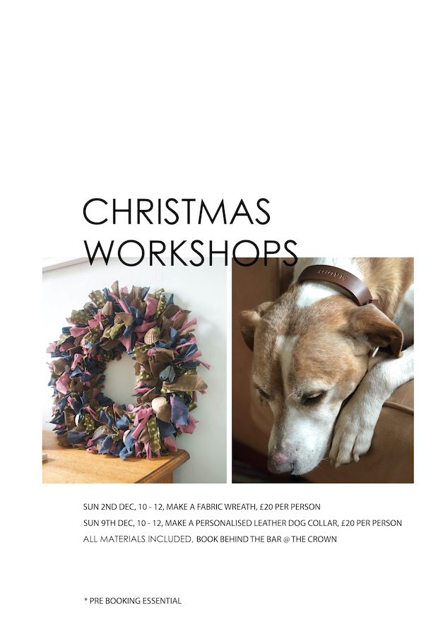 Poster for Christmas Workshops: Make a Personalised Leather Dog Collar