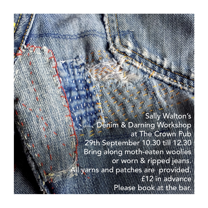Poster for Sally Walton's Denim & Darning Workshop